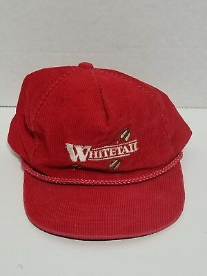 88876ea0eff87 Vintage Whitetail Deer USA Made Red Corduroy Cord Snap Back Trucker Hat Cap