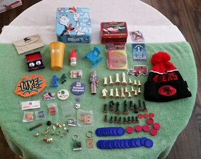 Junk Drawer Lunchbox Craft Hat Button Balls Patch Vintage Cup Chips Earrings Lot