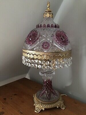 Antique Bohemian Glass Table Lamp With Brass Fittings And Base
