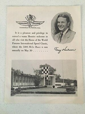 VINTAGE 60's INDIANAPOLIS MOTOR SPEEDWAY INFO PAMPHLET WELCOME VISITORS SOUVENIR