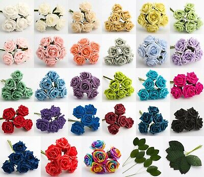 5cm Foam Roses - Bunch of 6 Artificial Wedding Bouquet Colourfast Flowers Stems