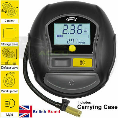 Ring RTC1000 12v Rapid Digital Auto Stop Car Tyre Air Compressor Inflator Pump