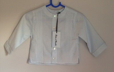 Tartine Et Chocolat Designer Girls Pleated Blue Shirt Baby Size 3-6 Months BNWT