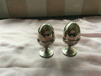 Vintage novely silver plated salt & pepper pots in the shape of eggs