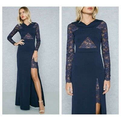 ex Quiz Navy Crossover Lace Insert Front Thigh Split Maxi Dress