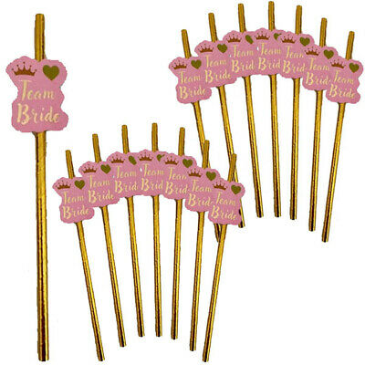8,16,24,32 Team Bride Paper Straws Hen Party Night Do Tribe Squad Decoration