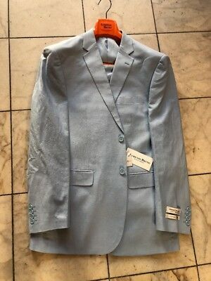 NWT LORENZO BRUNO Modern Fit Men's Linen Blend Suit Lined Sky Blue 2BT. Size 52R