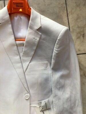 NWT LORENZO BRUNO Modern Fit Men's Linen Blend Suit Lined White 2BT. Size 34S