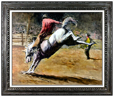 Pal Fried Large Original Oil Painting On Canvas Signed Western Horse Rodeo Art