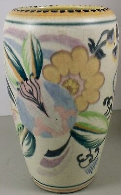 "Antique Staffordshire England Fantasy Ware 8"" Multi Color Floral Pottery Vase"