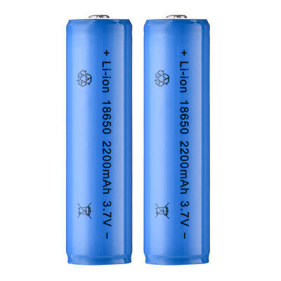 2X 18650 Li-ion Rechargeable Battery 3.7V 2200mAh High Quality for Torch BC827