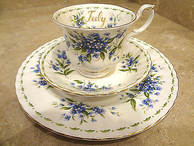 ROYAL ALBERT ~ Flower of the Month ~ JULY ~ Trio Set Tea Cup & Saucer & Plate