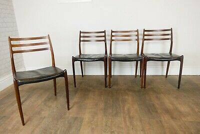 Set of 4 Model JL78 Rosewood & Leather Dining Chairs by Niels Otto Møller