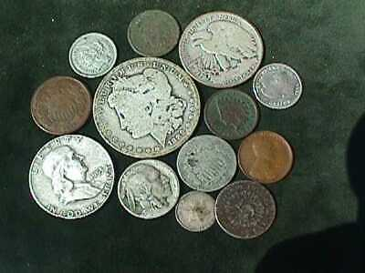 Obsolete US Lot of 13 $2.36 Face Value: incl.Silver & Nickel 3: 2 cent etc.