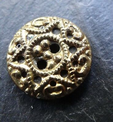antique Victorian gilt metal gold tone buttons star design -R286
