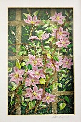 """A beautiful thread painting """"Clematis Trellis"""" by Mitra McQuiston, Excellent,"""