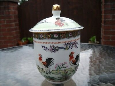 Chinese Tea Cup with Lid Hand painted with Cockerels/Chickens & Chicks 1950+