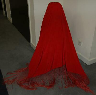 "Antique Red Silk Shawl 51"" x 54"" Long Hand Fringed Edge Victorian c1880-1900"