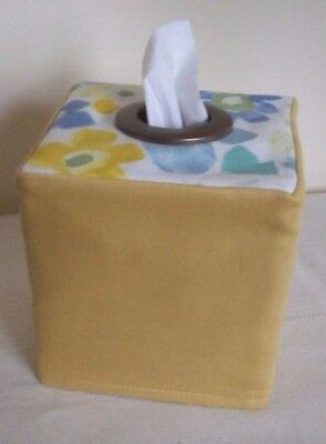 New  Country  Fabric Tissue Box Cover With Bronze Eyelet  Gold / Blue Floral
