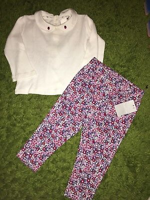 Jasper Conran Baby Girl Top Size 6-9 Months And Trousers Orger Brand 9-12