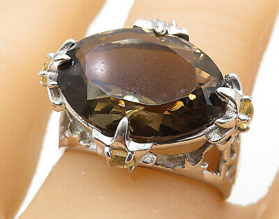 925 Silver - Smoky Quartz Citrine Accented Filigree Cocktail Ring Sz 7 - R7707