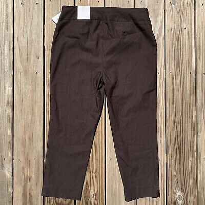 ce2a543a6962f1 So Slimming By Chicos Slim Stretch Brigitte Crop Pants Brown Womens 2 / 12  New
