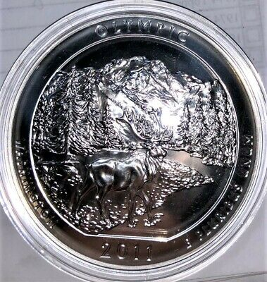 2011 5 oz America The Beautiful Olympic  Pure Silver Coin .999 Fine