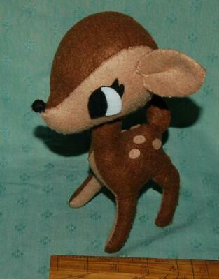 "Vintage Handmade Felt Bambi Fawn Soft Toy 8"" Height Brown Beige c1930s"
