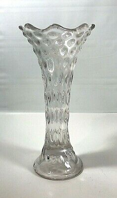 """Vintage Fenton Carnival Glass Rustic Swung Vase 9"""" Tall Clear Iridescent"""