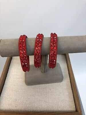Red 3 Piece Ballroom Latin Salsa Dance Jewelry Accessories bracelets Swarovski