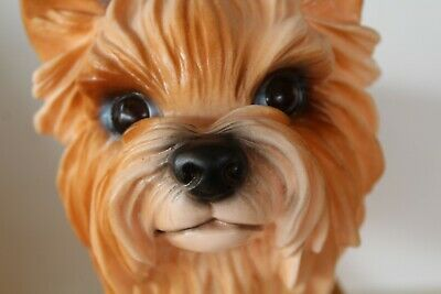 Vintage Large Life Like Yorkie Figurine Puppy Dog Statue Resin