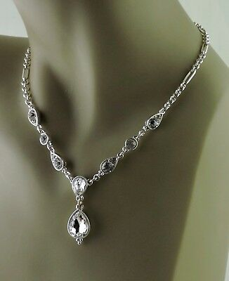 Vintage ? Silver Plated Clear Tear Drop Crystal Chain Necklace Victorian Style