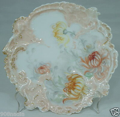 Antique Plate Pink Chrysanthemum Hand Painted Embossed Vienna Austria