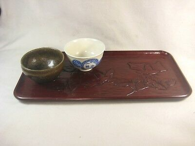 Vintage Japanese Signed Lacquered Tray Obon Hand Carved Kamakura Bori Floral