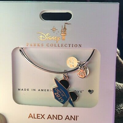Disney Alex and Ani Class Of 2019 Graduation Hat Silver Bangle Bracelet New