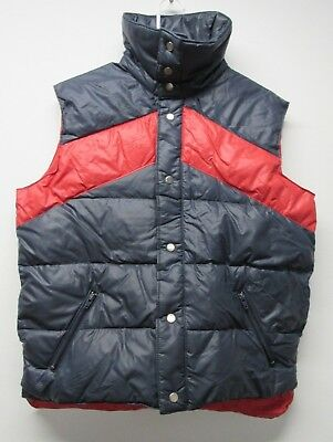 Vtg 70-80's Envoy Down Prime Northern Feathers Blue Red Puffer Vest sz Medium