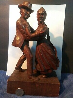 "10.5"" Antique Swiss Black Forest Wood Carving MAN WOMAN COUPLE Folk Dancers"