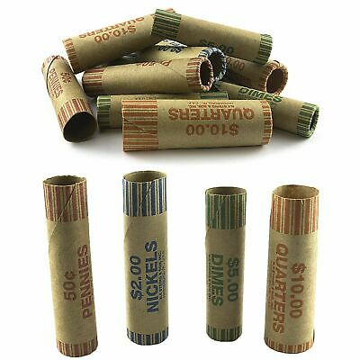 72 Rolls Preformed Assorted Coin Wrappers Tubes Nickels Quarters Dimes Pennies