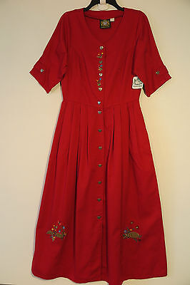 NWT HAMMERSCHMID Red Full 100% Cotton Dress Size 38