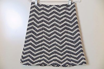 CHANEL 02A Off-White Black W/Silver ZigZag Pattern Wool Blend Skirt Size 36
