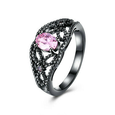 Fashion Jewelry Pink Zircon18K Black Gold Filled Woman's Engagement Ring Size 7