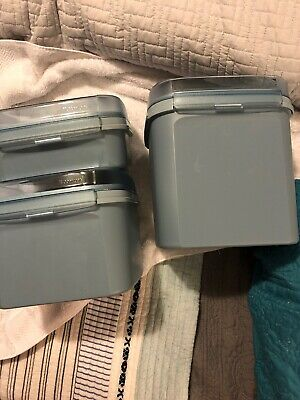 Tupperware Light Blue Cylinder With Iids Square Jars Great For Kitchen Anything