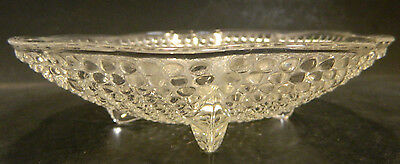"""Vintage Footed Scalloped Hobnail Clear Glass Candy Dish 6.5"""" x 1.5"""" Excellent"""