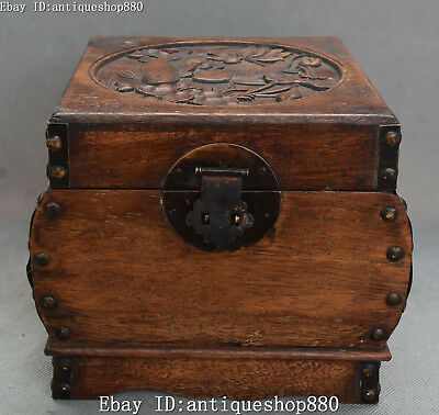 China Huanghuali Wood Carved Lotus Fish Storage Case Jewellery Jewel Box Statue