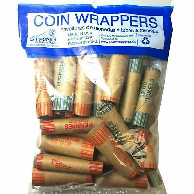 108 Rolls Preformed Assorted Coin Wrappers Tubes Nickels Quarters Dimes Pennies