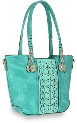 Unique Decortive Tall Jeweled Handbag In Turquoise