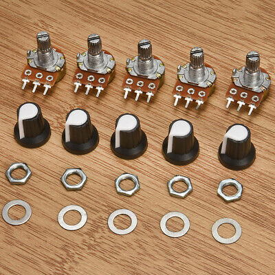 New 5X 10K OHM Terminal Linear Taper Rotary 15mm Resistor Potentiometer & Knobs
