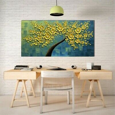 Modern Canvas Print Abstract Wall Home Decor Yellow Flower Tree Oil Painting