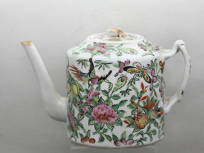 Stunning Antique Chinese Famille Rose Porcelain Teapot Tungzhi Reign c1860s