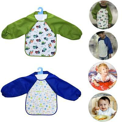 Kids Baby Bibs With Long Sleeve Waterproof Toddler Feeding Craft Apron Painting
